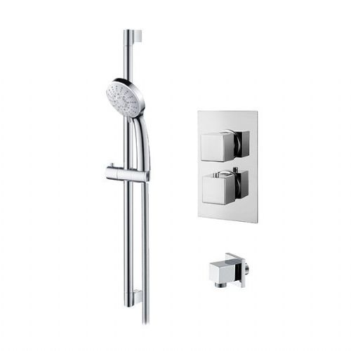 Abacus Emotion Thermostatic Square Concealed Shower Mixer With Riser Rail Set - Chrome